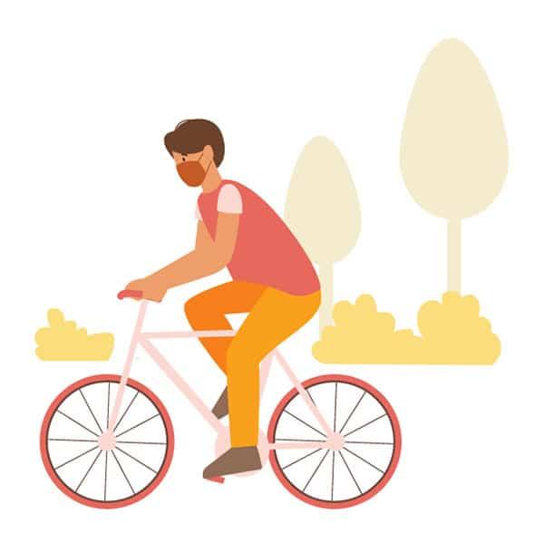 サイクリングする男性のイラスト